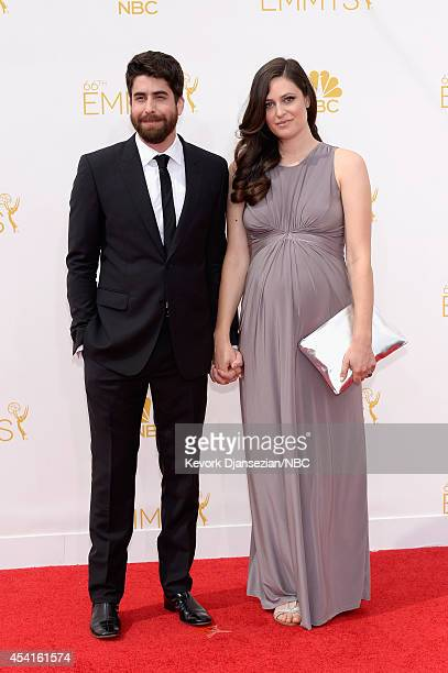 66th ANNUAL PRIMETIME EMMY AWARDS Pictured Actor Adam Goldberg and Roxanne Daner arrive to the 66th Annual Primetime Emmy Awards held at the Nokia...