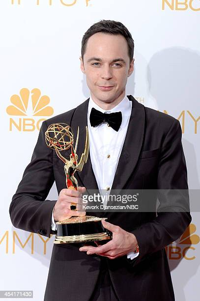 """66th ANNUAL PRIMETIME EMMY AWARDS -- Pictured: Actor Jim Parsons, winner of Outstanding Lead Actor In A Comedy Series for """"The Big Bang Theory"""" poses..."""
