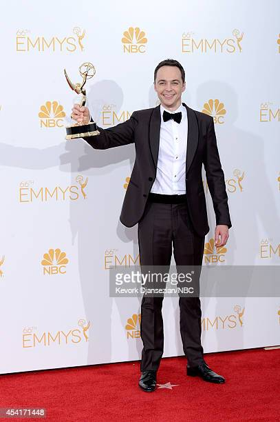 "66th ANNUAL PRIMETIME EMMY AWARDS -- Pictured: Actor Jim Parsons, winner of Outstanding Lead Actor In A Comedy Series for ""The Big Bang Theory"" poses..."