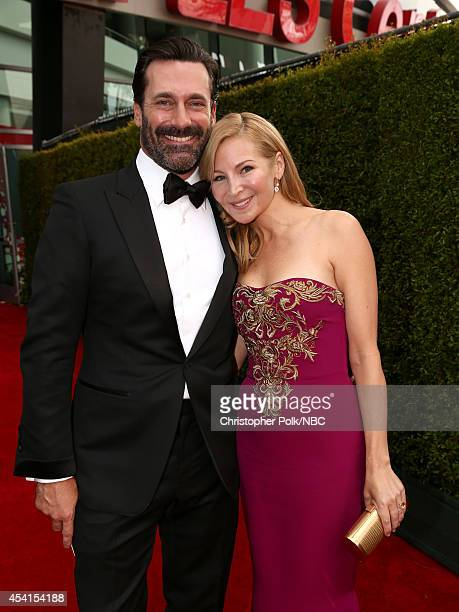 66th ANNUAL PRIMETIME EMMY AWARDS Pictured Actor Jon Hamm and actress/writer Jennifer Westfeldt arrive to the 66th Annual Primetime Emmy Awards held...