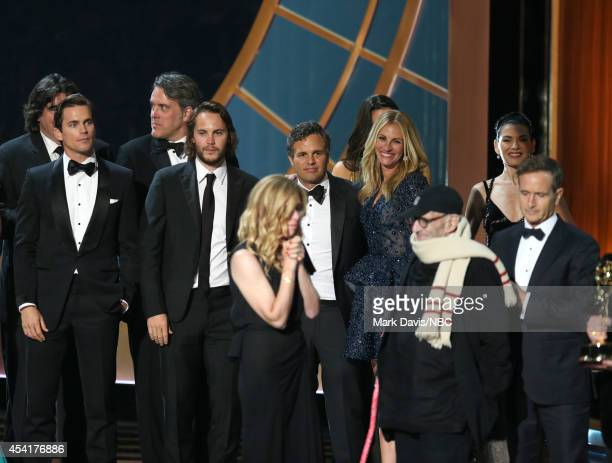 66th ANNUAL PRIMETIME EMMY AWARDS Pictured Actor Matt Bomer producer Dede Gardner actor Mark Ruffalo actress Julia Roberts and writer Larry Kramer...