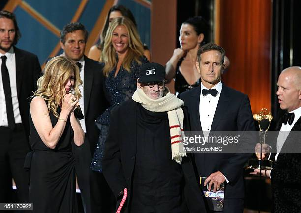 66th ANNUAL PRIMETIME EMMY AWARDS Pictured Actor Taylor Kitsch producer Dede Gardner actor Mark Ruffalo actress Julia Roberts writer Larry Kramer and...