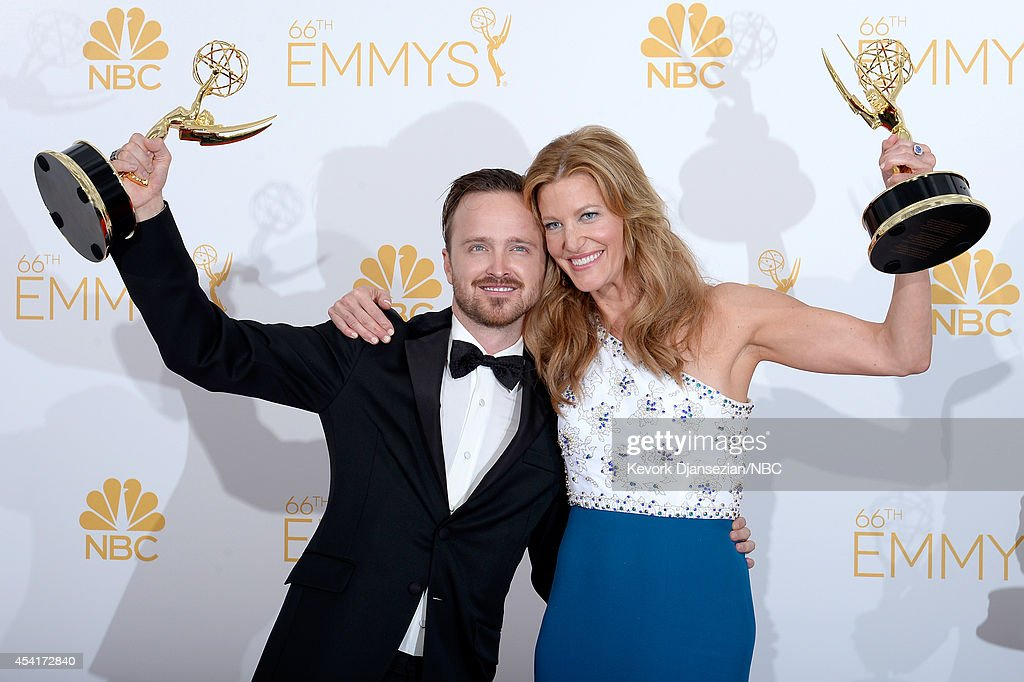 66th ANNUAL PRIMETIME EMMY AWARDS -- Pictured: (l-r) Actors Aaron Paul and Anna Gunn, winners of Outstanding Drama Series for 'Breaking Bad' pose in the press room during the 66th Annual Primetime Emmy Awards held at the Nokia Theater on August 25, 2014.