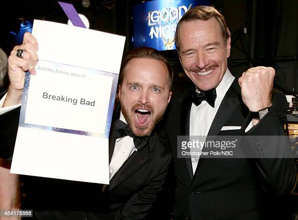 66th ANNUAL PRIMETIME EMMY AWARDS Pictured Actors Aaron Paul and Bryan Cranston winners of Outstanding Drama Series for Breaking Bad pose during the...
