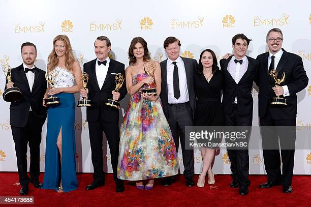 66th ANNUAL PRIMETIME EMMY AWARDS Pictured Actors Aaron Paul Anna Gunn Bryan Cranston Betsy Brandt Jesse Plemons Laura Fraser RJ Mitte and executive...