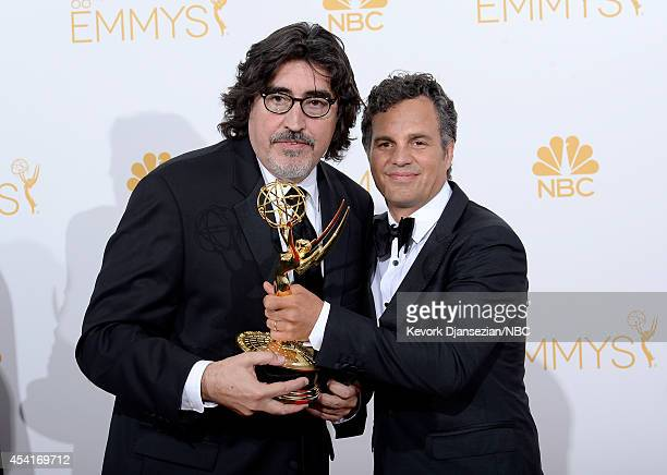 66th ANNUAL PRIMETIME EMMY AWARDS Pictured Actors Alfred Molina and Mark Ruffalo winners of Outstanding Television Movie for The Normal Heart pose in...