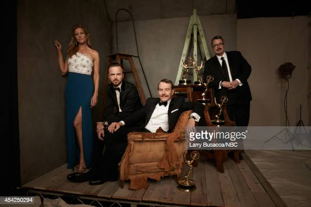 "66th ANNUAL PRIMETIME EMMY AWARDS -- Pictured: Actors Anna Gunn, Aaron Paul, Bryan Cranston and director Vince Gilligan from ""Breaking Bad"" pose in..."