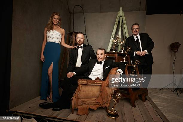 66th ANNUAL PRIMETIME EMMY AWARDS Pictured Actors Anna Gunn Aaron Paul Bryan Cranston and director Vince Gilligan from Breaking Bad pose in the...