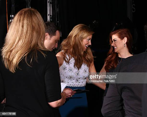 66th ANNUAL PRIMETIME EMMY AWARDS Pictured Actors Jim Parsons Anna Gunn and Debra Messing backstage during the 66th Annual Primetime Emmy Awards held...