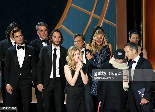66th ANNUAL PRIMETIME EMMY AWARDS Pictured Actors Matt Bomer Taylor Kitsch producer Dede Gardner actor Mark Ruffalo actress Julia Roberts writer...
