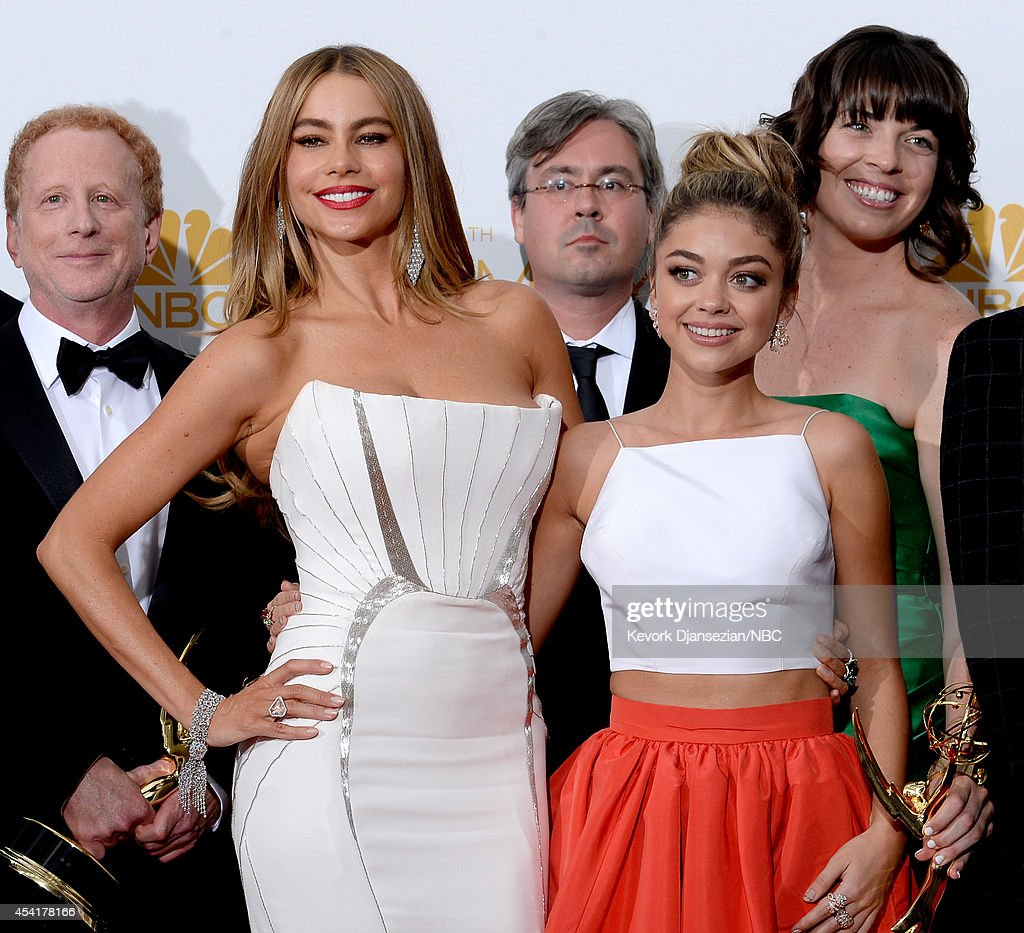 66th ANNUAL PRIMETIME EMMY AWARDS -- Pictured: (l-r) Actors Sofia Vergara and Sarah Hyland pose in the press room during the 66th Annual Primetime Emmy Awards held at the Nokia Theater on August 25, 2014.