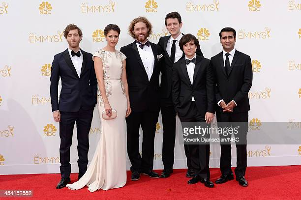 66th ANNUAL PRIMETIME EMMY AWARDS -- Pictured: Actors Thomas Middleditch, Amanda Crew, T.J. Miller, Zach Woods, Josh Brener and Kumail Nanjiani...