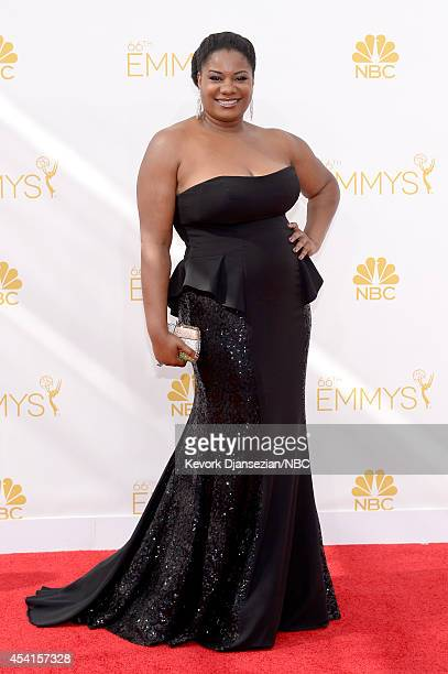 66th ANNUAL PRIMETIME EMMY AWARDS Pictured Actress Adrienne C Moore arrives to the 66th Annual Primetime Emmy Awards held at the Nokia Theater on...