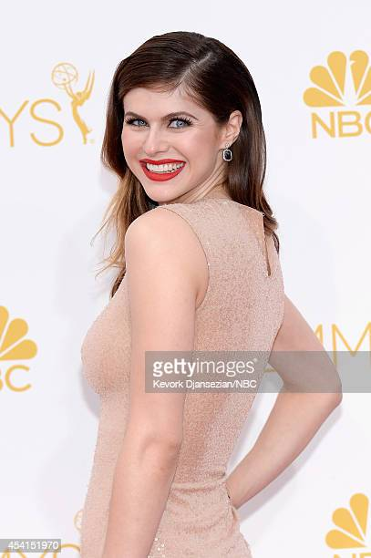 66th ANNUAL PRIMETIME EMMY AWARDS Pictured Actress Alexandra Daddario arrives to the 66th Annual Primetime Emmy Awards held at the Nokia Theater on...