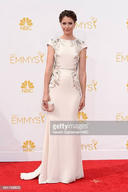 66th ANNUAL PRIMETIME EMMY AWARDS -- Pictured: Actress Amanda Crew arrives to the 66th Annual Primetime Emmy Awards held at the Nokia Theater on...