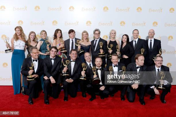 66th ANNUAL PRIMETIME EMMY AWARDS Pictured Actress Anna Gunn coexecutive producer Melissa Bernstein actress Betsey Brandt actor Jesse Plemmons...