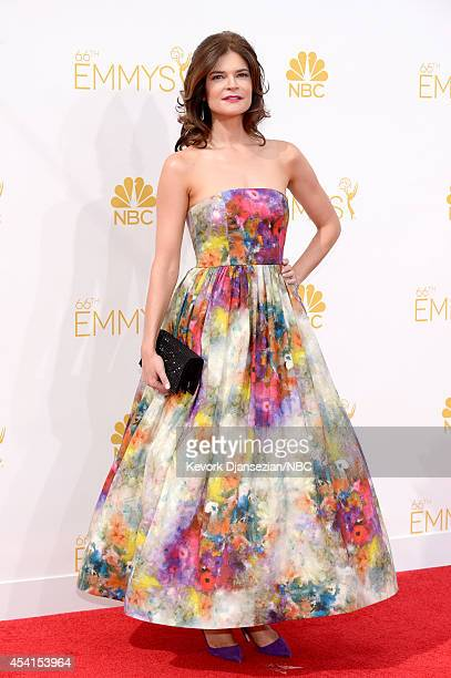 66th ANNUAL PRIMETIME EMMY AWARDS Pictured Actress Betsy Brandt arrives to the 66th Annual Primetime Emmy Awards held at the Nokia Theater on August...