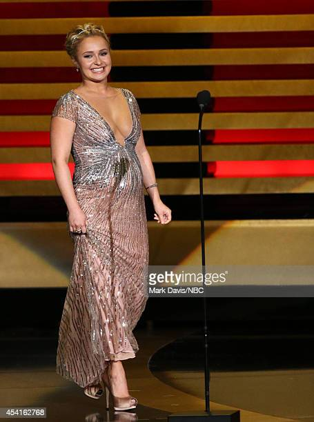 66th ANNUAL PRIMETIME EMMY AWARDS Pictured Actress Hayden Panettiere speaks on stage during the 66th Annual Primetime Emmy Awards held at the Nokia...
