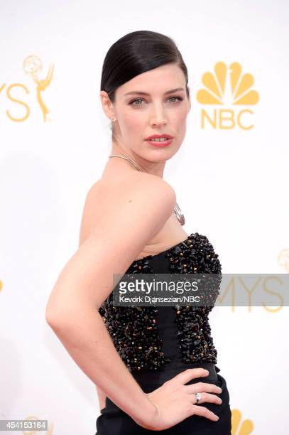 66th ANNUAL PRIMETIME EMMY AWARDS -- Pictured: Actress Jessica Pare arrives to the 66th Annual Primetime Emmy Awards held at the Nokia Theater on...