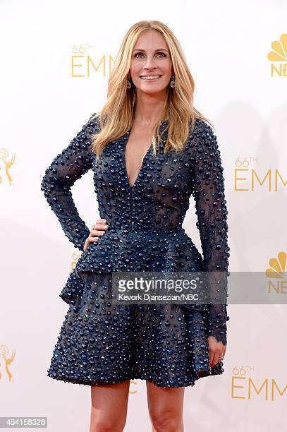 66th ANNUAL PRIMETIME EMMY AWARDS -- Pictured: Actress Julia Roberts arrives to the 66th Annual Primetime Emmy Awards held at the Nokia Theater on...