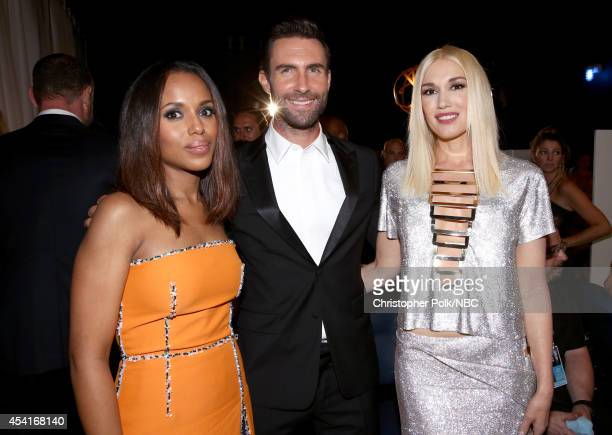 66th ANNUAL PRIMETIME EMMY AWARDS Pictured Actress Kerry Washington singer/songwriters Gwen Stefani and Adam Levine pose backstage during the 66th...