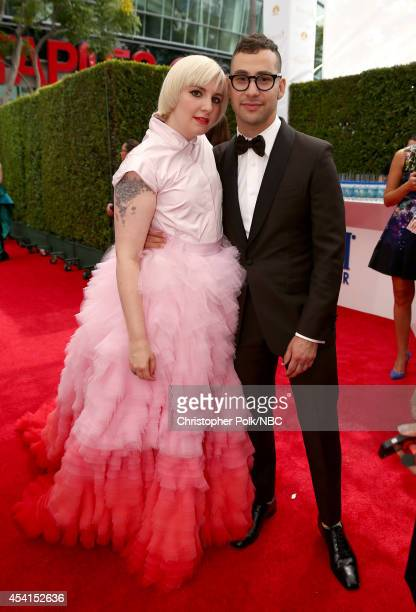 66th ANNUAL PRIMETIME EMMY AWARDS -- Pictured: Actress Lena Dunham and recording artist Jack Antonoff arrive to the 66th Annual Primetime Emmy Awards...