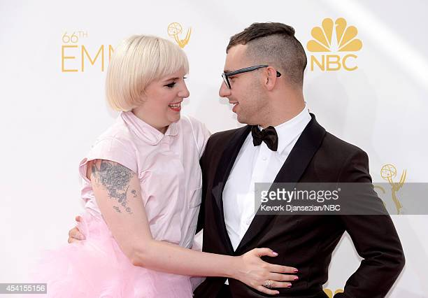 66th ANNUAL PRIMETIME EMMY AWARDS -- Pictured: Actress Lena Dunham and musician Jack Antonoff arrive to the 66th Annual Primetime Emmy Awards held at...