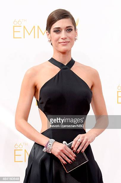 66th ANNUAL PRIMETIME EMMY AWARDS Pictured Actress Lizzy Caplan arrives to the 66th Annual Primetime Emmy Awards held at the Nokia Theater on August...