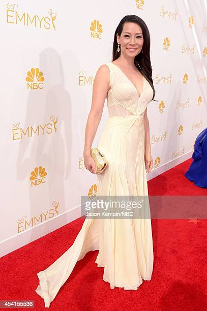 66th ANNUAL PRIMETIME EMMY AWARDS Pictured Actress Lucy Liu arrives to the 66th Annual Primetime Emmy Awards held at the Nokia Theater on August 25...
