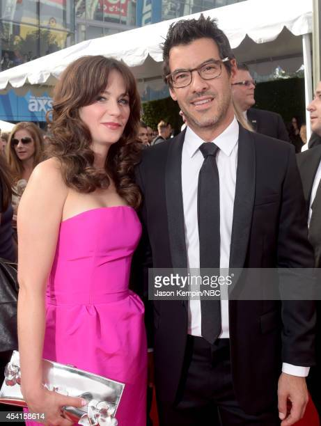 66th ANNUAL PRIMETIME EMMY AWARDS Pictured Actress Zooey Deschanel and Jacob Pechenik arrive to the 66th Annual Primetime Emmy Awards held at the...