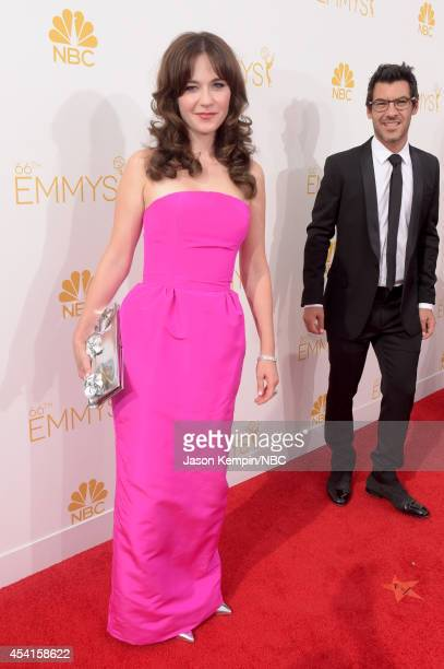 66th ANNUAL PRIMETIME EMMY AWARDS Pictured Actress Zooey Deschanel arrives to the 66th Annual Primetime Emmy Awards held at the Nokia Theater on...