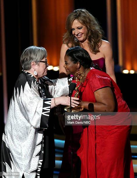 66th ANNUAL PRIMETIME EMMY AWARDS Pictured Actresses Allison Janney and Octavia Spencer present Kathy Bates the Outstanding Supporting Actress in a...