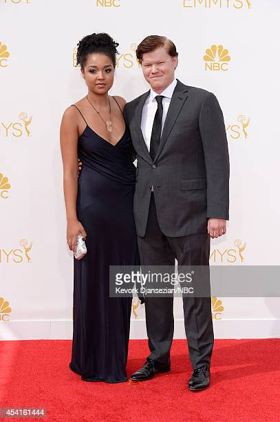 66th ANNUAL PRIMETIME EMMY AWARDS Pictured Courtney Peterson and actor Jesse Plemons arrive to the 66th Annual Primetime Emmy Awards held at the...