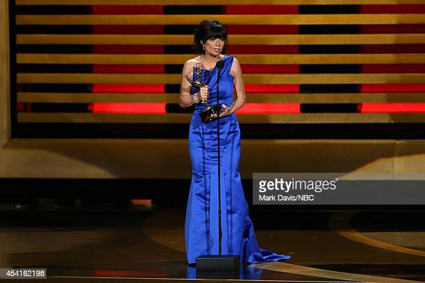 66th ANNUAL PRIMETIME EMMY AWARDS Pictured Director Gail Mancuso accepts the Outstanding Directing for a Comedy Series award for 'Modern Family' on...
