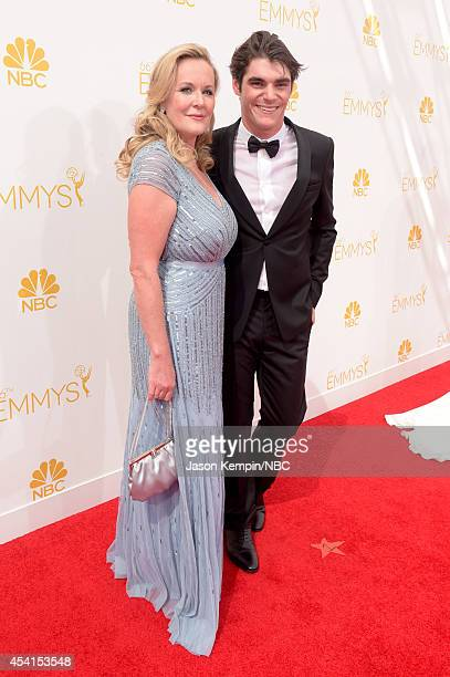 66th ANNUAL PRIMETIME EMMY AWARDS -- Pictured: Dyna Mitte and actor RJ Mitte arrive to the 66th Annual Primetime Emmy Awards held at the Nokia...
