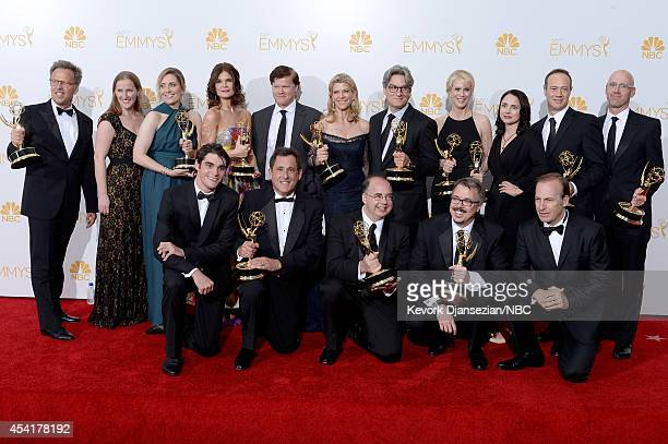 66th ANNUAL PRIMETIME EMMY AWARDS Pictured Executive producer Mark Johnson coexecutive producer Melissa Bernstein producer Diane Mercer actress...