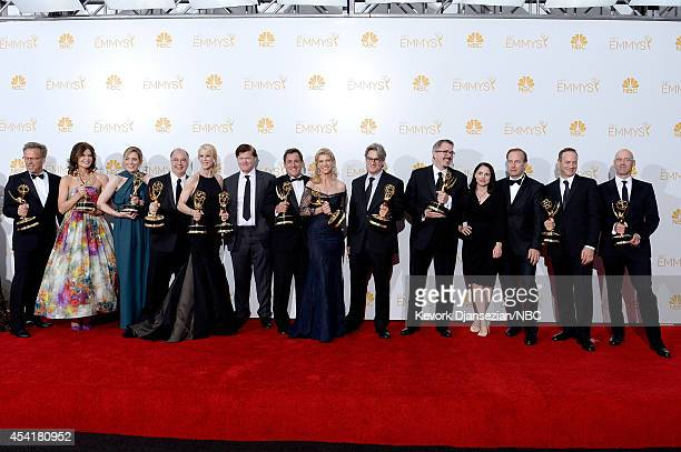66th ANNUAL PRIMETIME EMMY AWARDS Pictured Executive producer Mark Johnson actress Betsey Brandt producer Diane Mercer coexecutive producer Thomas...