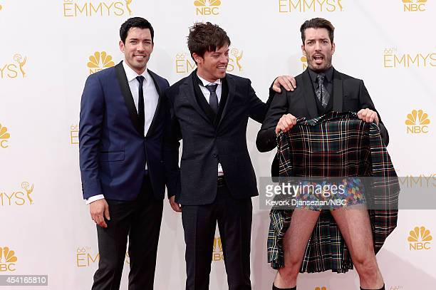 66th ANNUAL PRIMETIME EMMY AWARDS Pictured Interior deisgners Drew Scott JD Scott and Jonathan Scott arrive to the 66th Annual Primetime Emmy Awards...