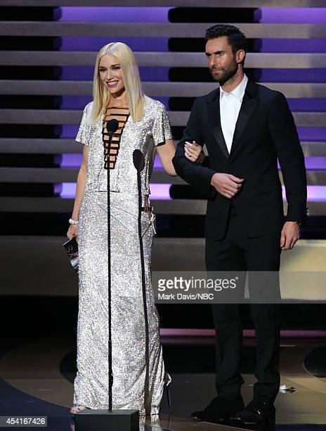 66th ANNUAL PRIMETIME EMMY AWARDS Pictured Recording artists Gwen Stefani and Adam Levine speak on stage during the 66th Annual Primetime Emmy Awards...