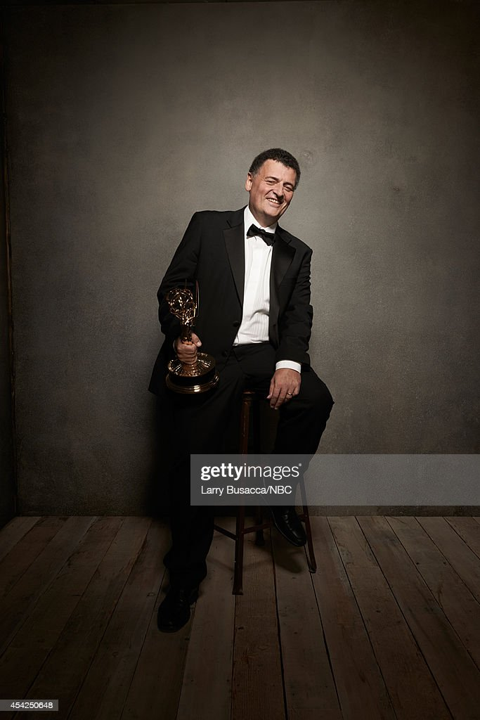 66th ANNUAL PRIMETIME EMMY AWARDS -- Pictured: Sherlock writer Steven Moffat poses in the NBC/People photo booth during the 66th Annual Primetime Emmy Awards held at the Nokia Theater on August 25, 2014.