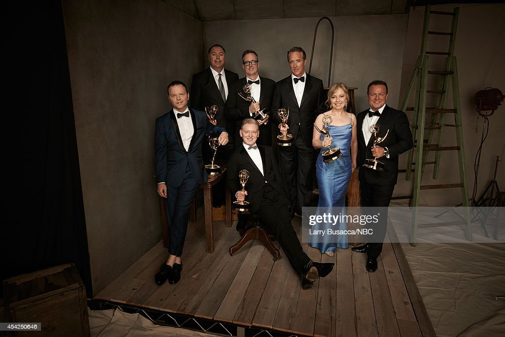 66th ANNUAL PRIMETIME EMMY AWARDS -- Pictured: Show Creator/Executive Producer Noah Hawle, Producers Michael Frislev, John Cameron, Executive Producers Warren Littlefield, Executive Producer Geyer Kosinski, producer Kim Todd and Chad Oakes from 'Fargo' pose in the NBC/People photo booth during the 66th Annual Primetime Emmy Awards held at the Nokia Theater on August 25, 2014.