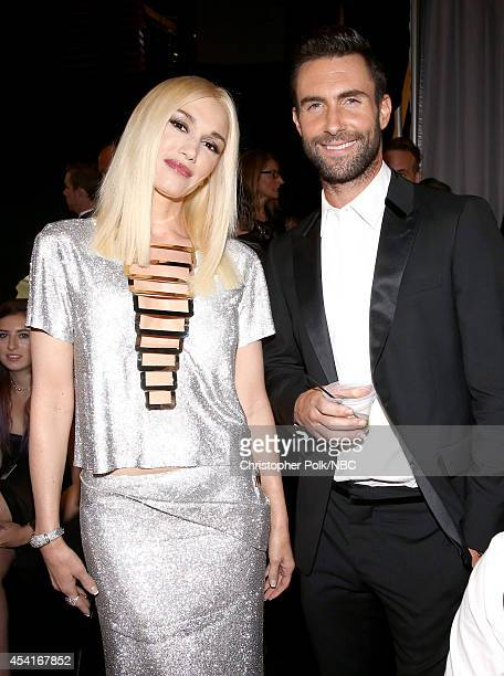 66th ANNUAL PRIMETIME EMMY AWARDS Pictured Singer/songwriter Gwen Stefani and Adam Levine pose backstage during the 66th Annual Primetime Emmy Awards...