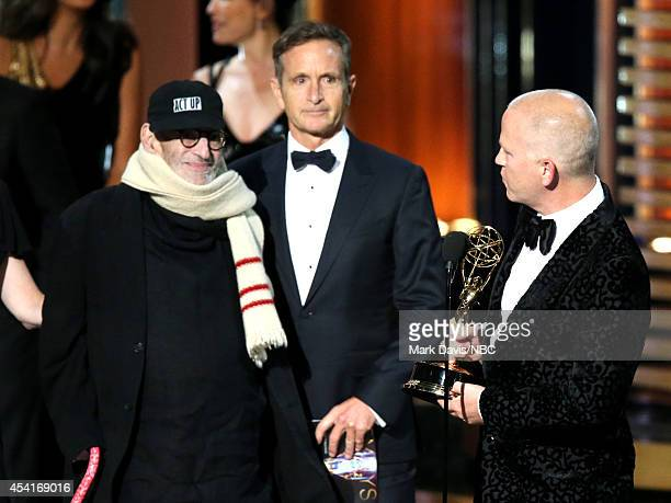 66th ANNUAL PRIMETIME EMMY AWARDS Pictured Writer Larry Kramer and director/producer Ryan Murphy accept the Outstanding Television Movie award for...
