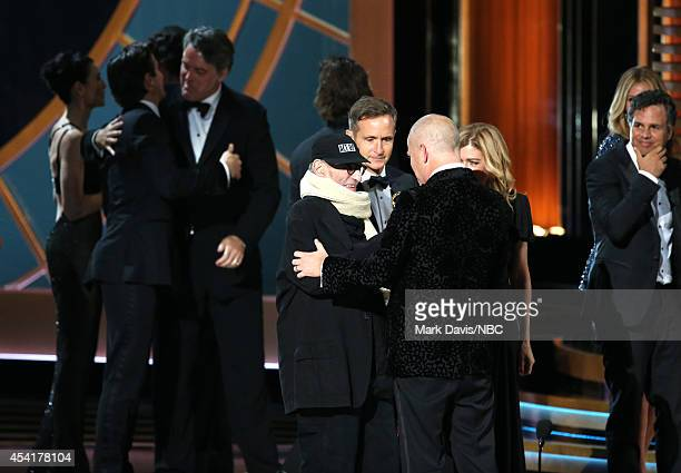 66th ANNUAL PRIMETIME EMMY AWARDS Pictured Writer Larry Kramer writer/director Ryan Murphy producer Dede Gardner and actor Mark Ruffalo accept the...