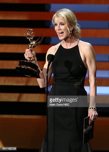 66th ANNUAL PRIMETIME EMMY AWARDS Pictured Writer Moira WalleyBeckett accepts the Outstanding Writing for a Drama Series award for 'Breaking Bad' on...