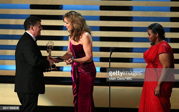 66th ANNUAL PRIMETIME EMMY AWARDS Pictured Writer Steven Moffat accepts the Outstanding Writing for a Miniseries Movie or a Dramatic Special award...