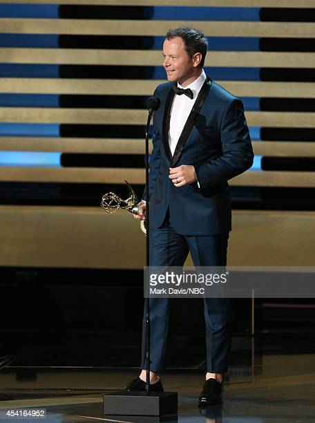 66th ANNUAL PRIMETIME EMMY AWARDS Pictured Writer/producer Noah Hawley accepts the Outstanding Miniseries award on stage during the 66th Annual...