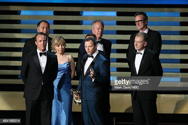 66th ANNUAL PRIMETIME EMMY AWARDS Pictured Writer/producer Noah Hawley and fellow representatives of 'Fargo' accept the Outstanding Miniseries award...