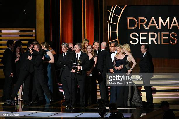 66th ANNUAL PRIMETIME EMMY AWARDS -- Pictured: Writer/producer Vince Gilligan and representatives of 'Breaking Bad' accept the Outstanding Drama...