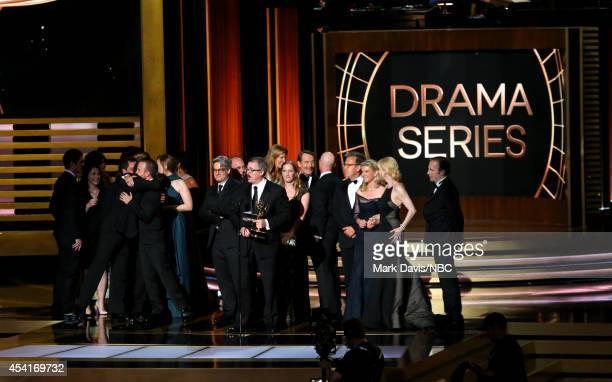 66th ANNUAL PRIMETIME EMMY AWARDS Pictured Writer/product Vince Gilligan and representatives of 'Breaking Bad' accept the Outstanding Drama Series...